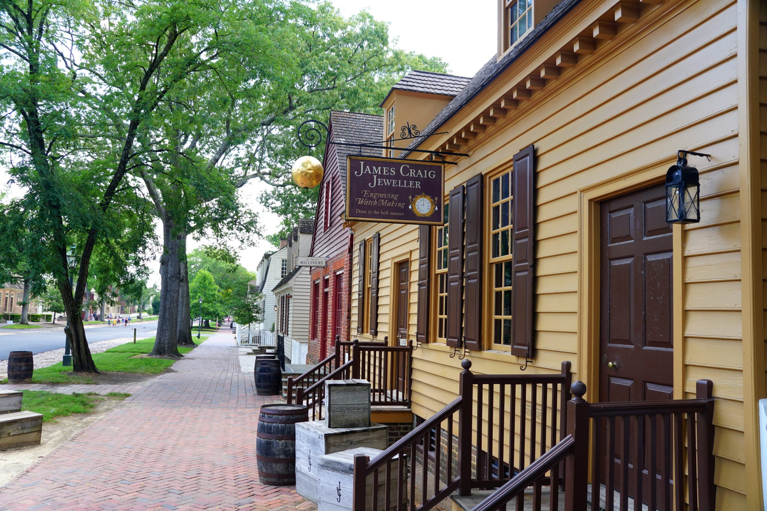Williamsburg, Virginia, U.S.A - June 30, 2020 - The view of the street with beautiful colonial homes and stores
